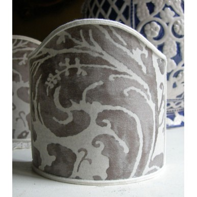 Wall Sconce Clip-On Lamp Shade Fortuny Fabric Pearl Grey & Antique White Lucrezia Pattern
