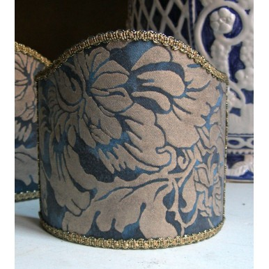 Wall Sconce Clip-On Lamp Shade Fortuny Fabric Midnight Blue & Silvery Gold Dandolo Pattern