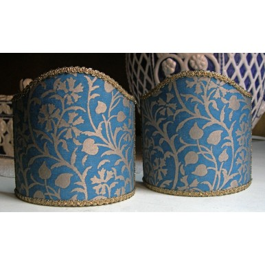 Wall Sconce Clip-On Lamp Shade Fortuny Fabric Blue & Silvery Gold Granada Pattern