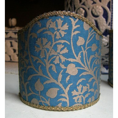 Abat Jour à Pince Fait Main Tissu Fortuny Granada Bleu et Or