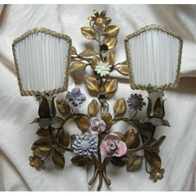 Pair of Antique Italian Gilded Tole Porcelain Flowers Wall Sconces w Pleated Silk Clip On Lampshades