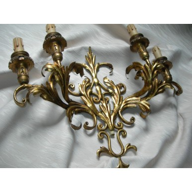 Pair of Italian Antique Gilded Tole 4 Arm Wall Sconces with Pleated Silk Clip On Shield Shades
