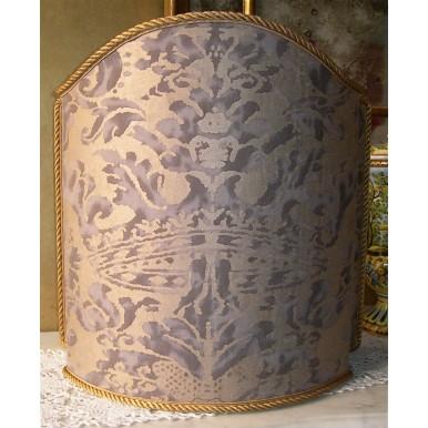 Abat Jour Tissu Imprimé à la Main Fortuny Corone Gris et Or