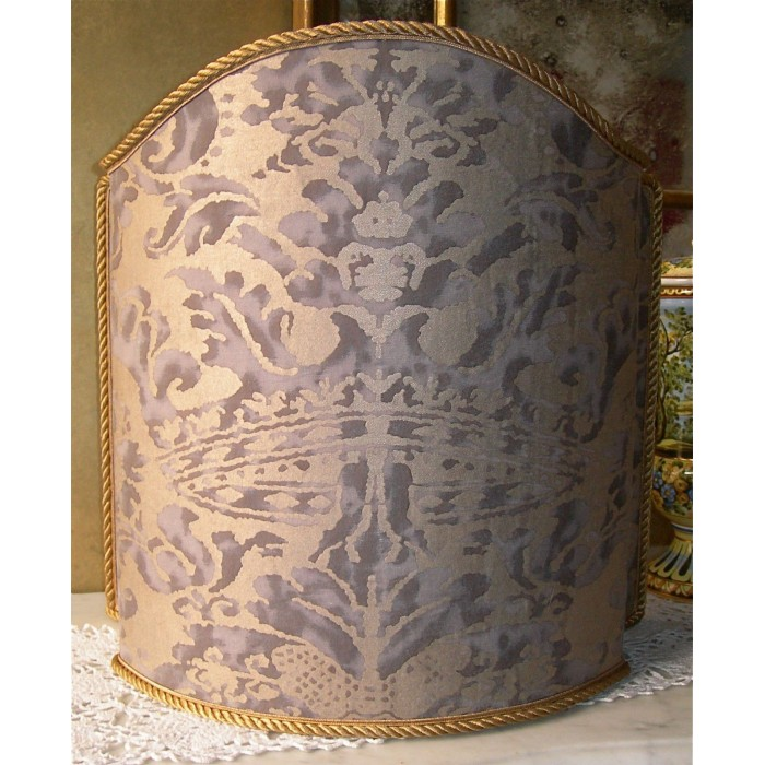 Handmade Lamp Shade Fortuny Fabric Grey & Silvery Gold Corone Pattern