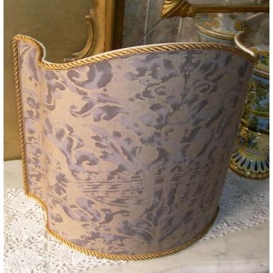Handmade Lamp Shade Fortuny Fabric Grey & Silvery Gold Corone Pattern