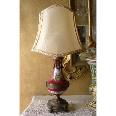 Antique French Paris Gold Bronze Porcelain Table Lamp w Parchment Lampshade