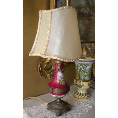 Antica Lampada da Tavolo in Bronzo e Porcellana Francese con Paralume in Pergamena