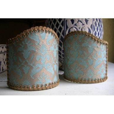 Wall Sconce Clip-On Lamp Shade Fortuny Fabric Aquamarine & Silvery Gold Delfino Pattern