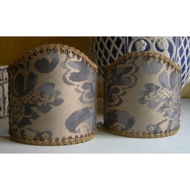 Wall Sconce Clip-On Lamp Shade Fortuny Fabric Grey & Silvery Gold Corone Pattern